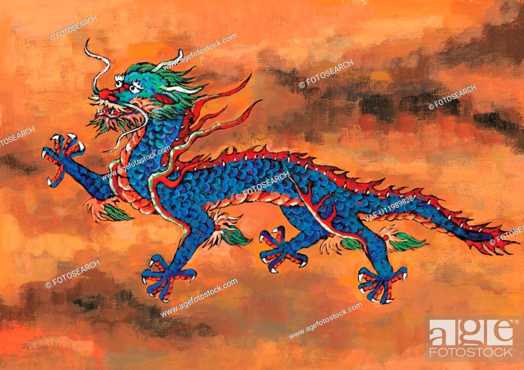 Stock Photo: myth, dragon, painting, tradition, blue, mythical, animal.