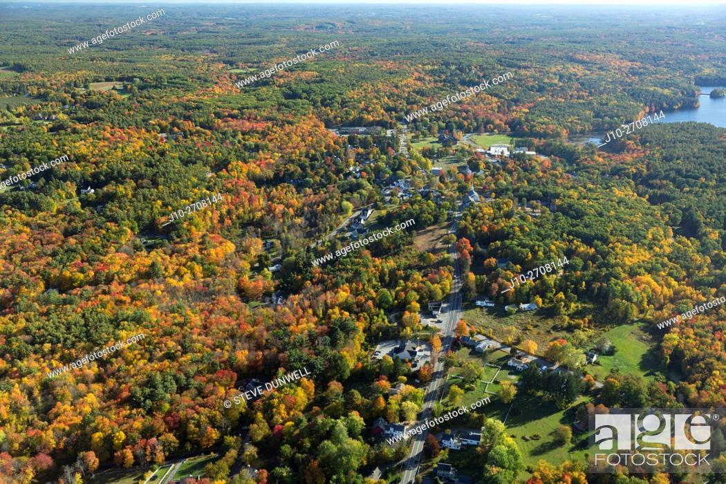 Stock Photo: Harvard village, MA aerial view autumn, USA.