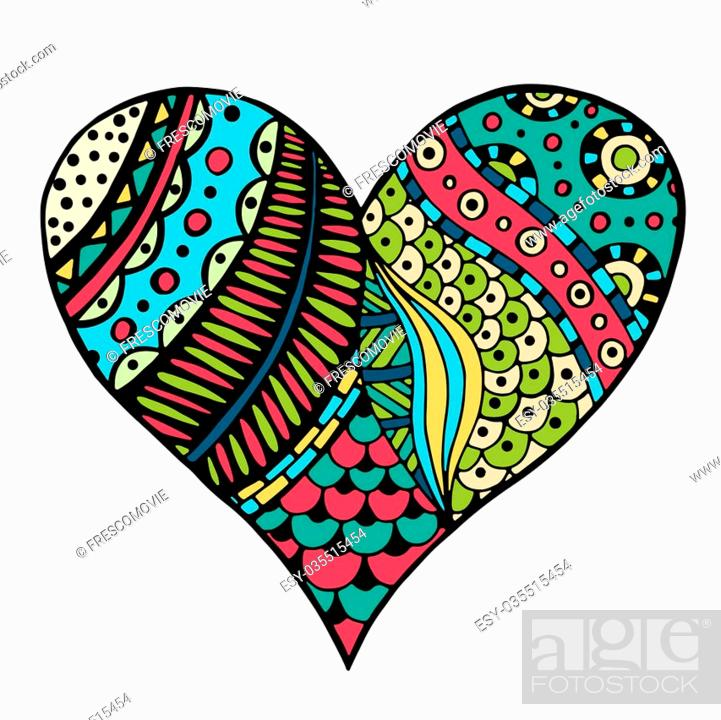 Heart Zentangle Coloring Pages Printable | 700x701
