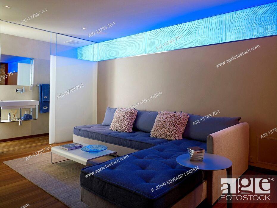 Stock Photo: Open plan living room in Odyssey House, Carmel, California, USA.