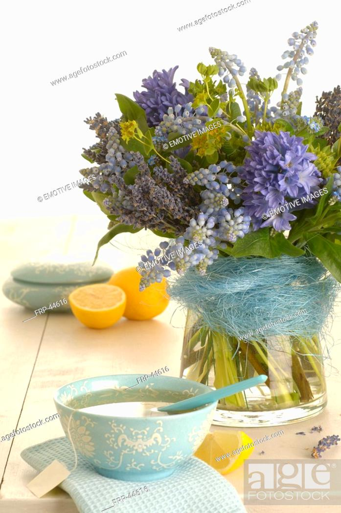 Stock Photo: spring bouquet and tea cup.