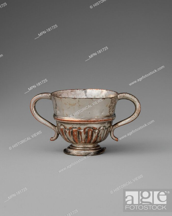 Stock Photo: Miniature cup. Date: late 18th century; Culture: possibly British, Sheffield; Medium: Silver-plated copper; Dimensions: 1 3/16 x 2 in. (3 x 5.