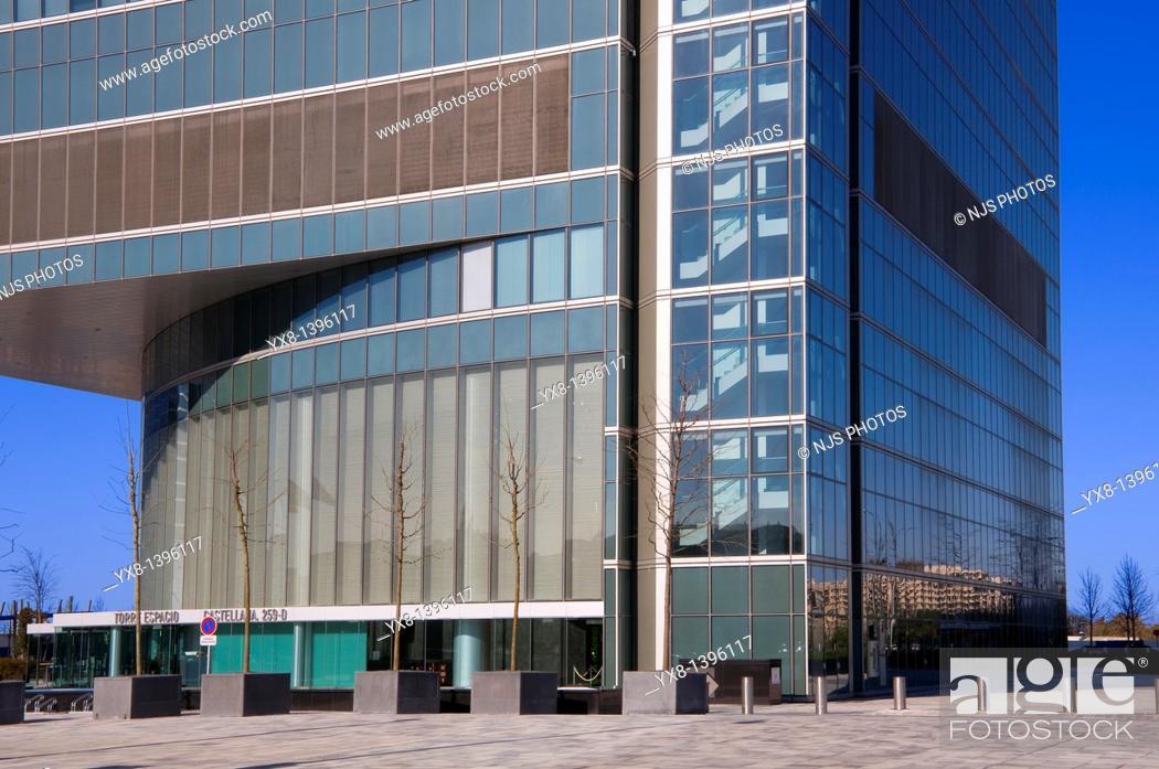 Stock Photo: Entrance of Espacio Tower building, located in Cuatro Torres Business Area of Madrid, Comunidad de Madrid, Spain, Europe.