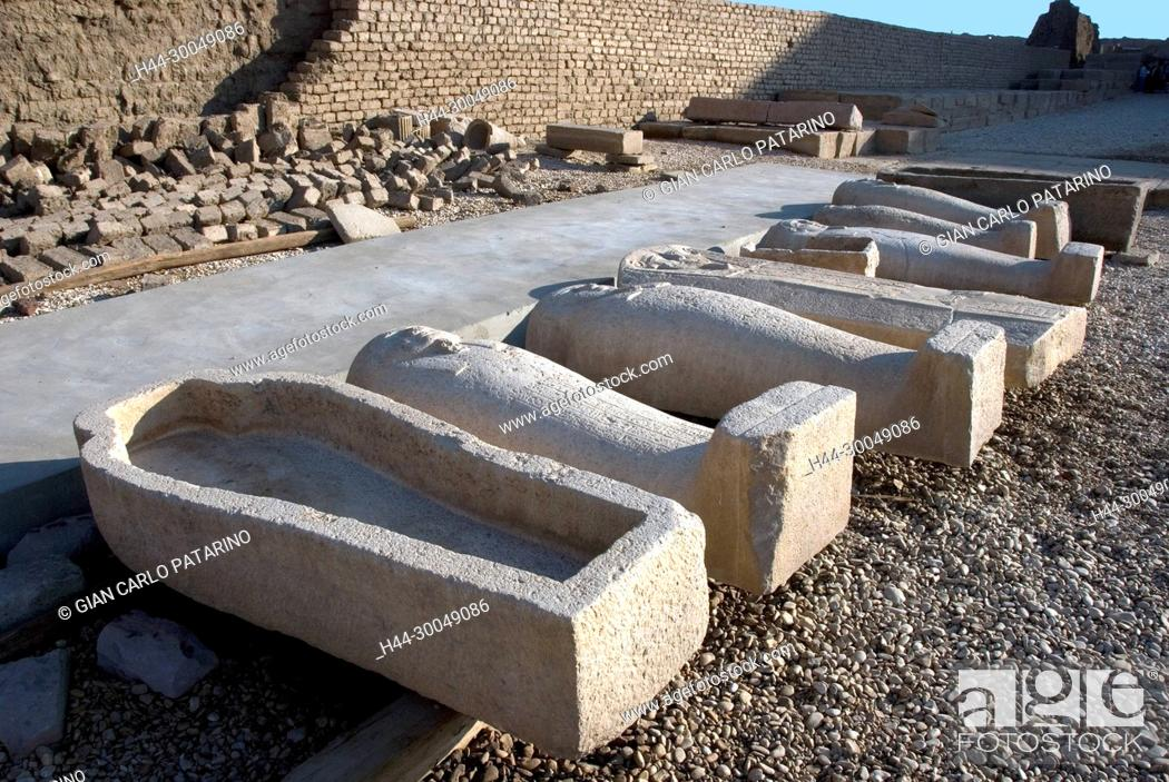 Stock Photo: Egypt, Dendera, Ptolemaic temple of the goddess Hathor.View of various stone coffins.