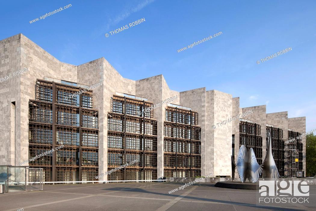 Stock Photo: City Hall, City Council, architect Arne Jacobsen, Mainz, Rhineland-Palatinate, Germany, Europe, PublicGround.