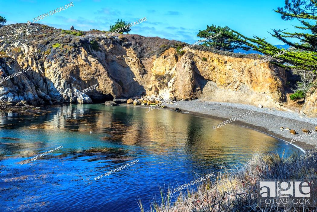 Stock Photo: View of the ocean and rocky coastline at the Point Lobos State Reserve, California, United States.