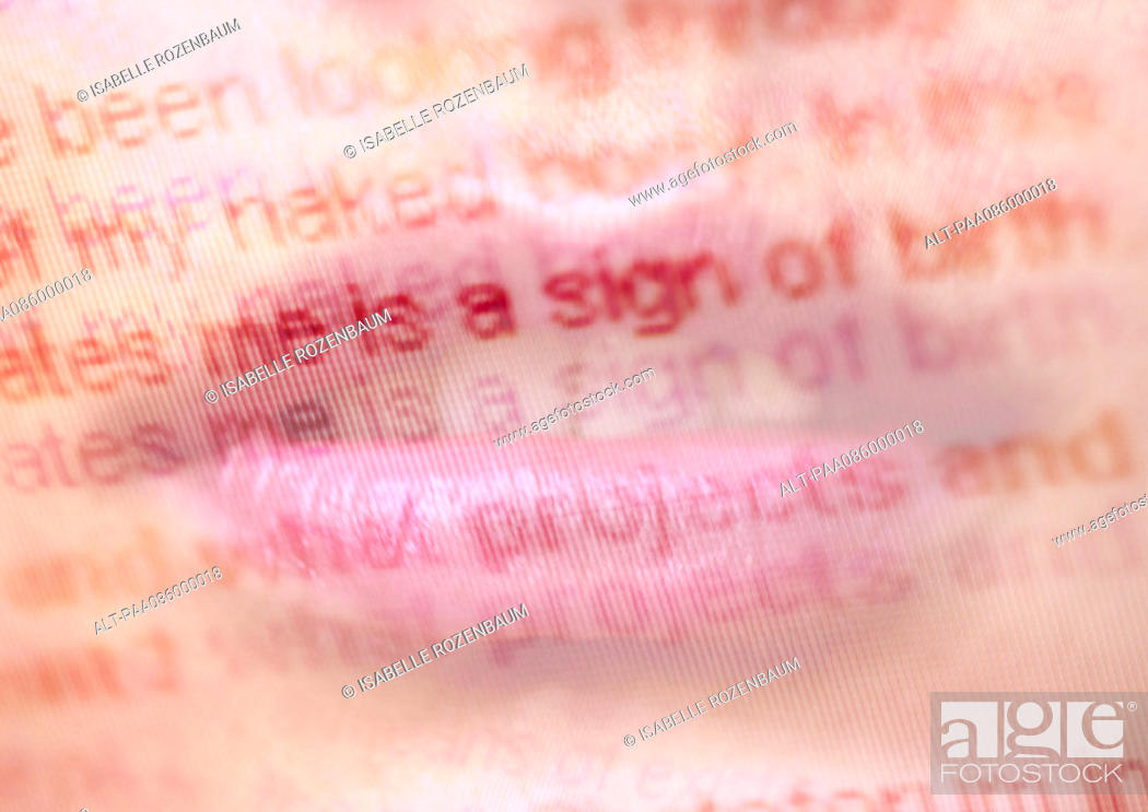 Stock Photo: Lips and text, montage.