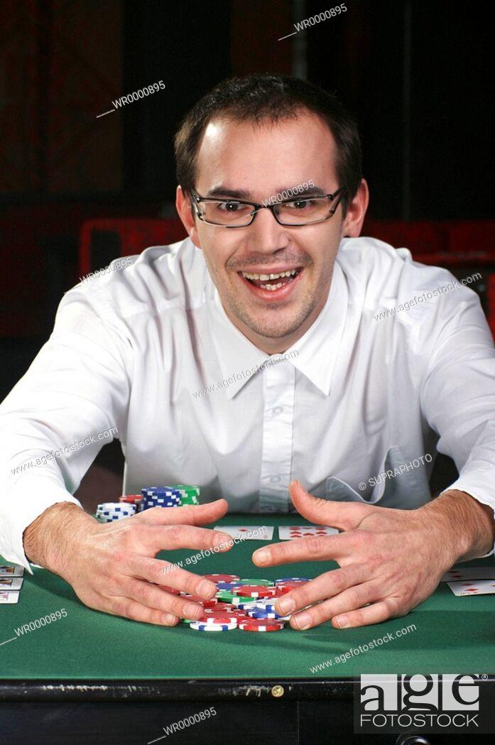 Stock Photo: Man victory poker.