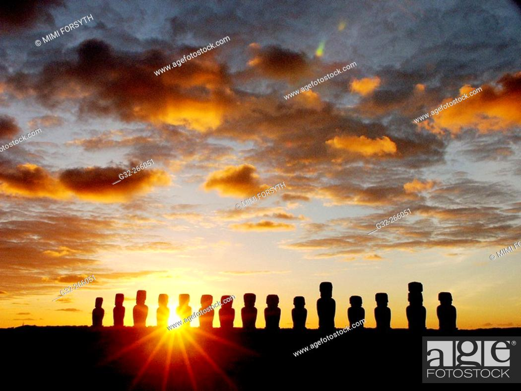 Stock Photo: Moais at dawn. Ahu Tongariki, Easter Island. Chile.