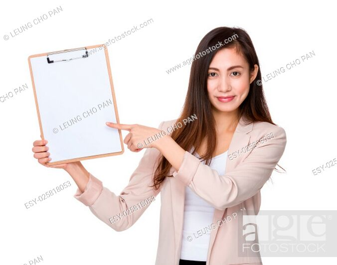 Stock Photo: Businesswoman finger point to clipboard.