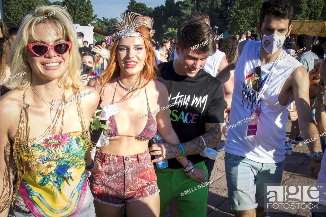 Stock Photo: Kaili Thorne, Bella Thorne and Benjiamin Mascolo at the Milan Gay Pride held at the Arco della Pace. Milan (Italy), June 26th, 2021.