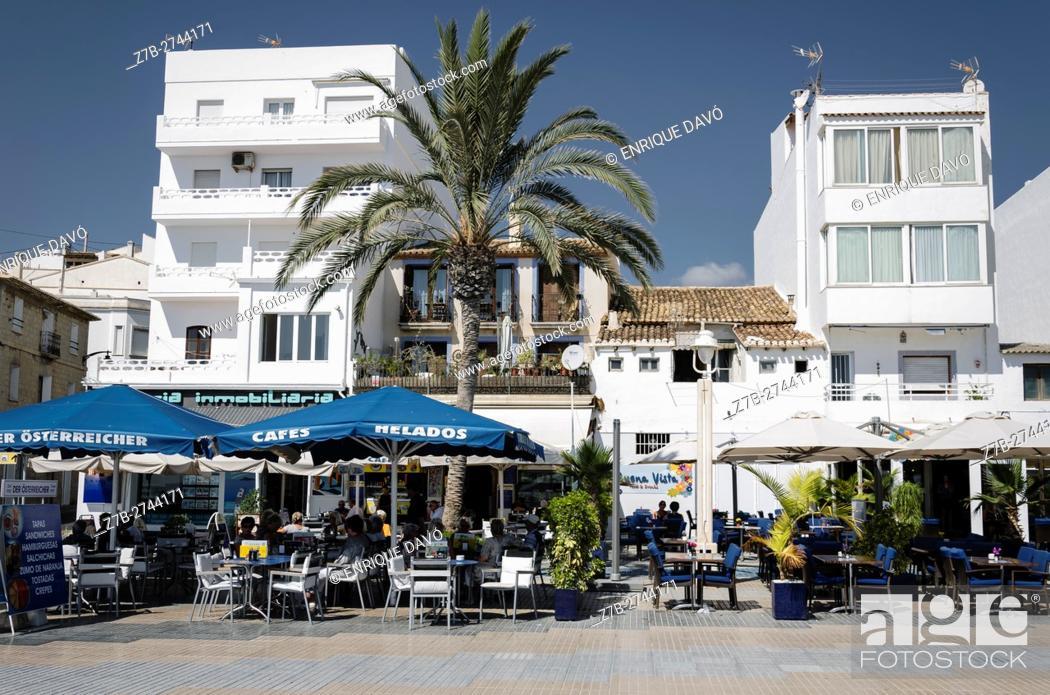Stock Photo: A bars view in Altea beach, Alicante north, Spain.