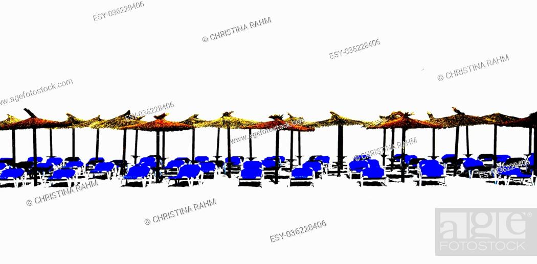 Stock Photo: Beach chaise lounges with straw parasols in a row isolated on white for design margin.