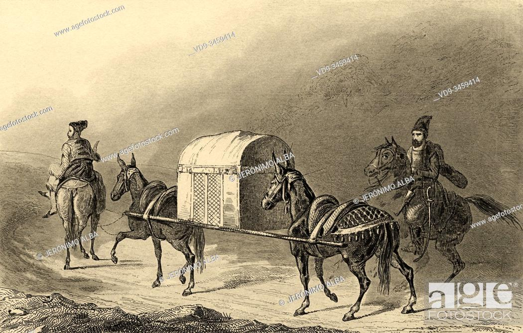 Stock Photo: Riders with enclosed litter, Persian Empire. Takhti Ravan. Iran. Old steel engraved antique print. Published in L'Univers La Perse, in 1841.