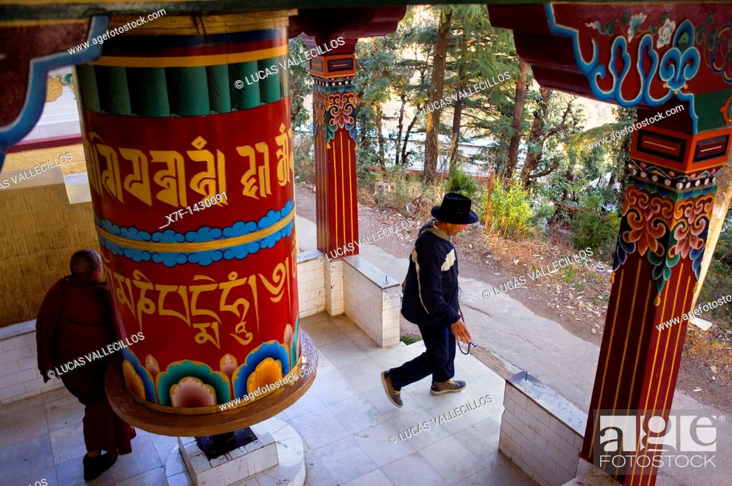 Stock Photo: prayer wheel in Lhagyal Ri,near Tsuglagkhang complex,McLeod Ganj, Dharamsala, Himachal Pradesh state, India, Asia.