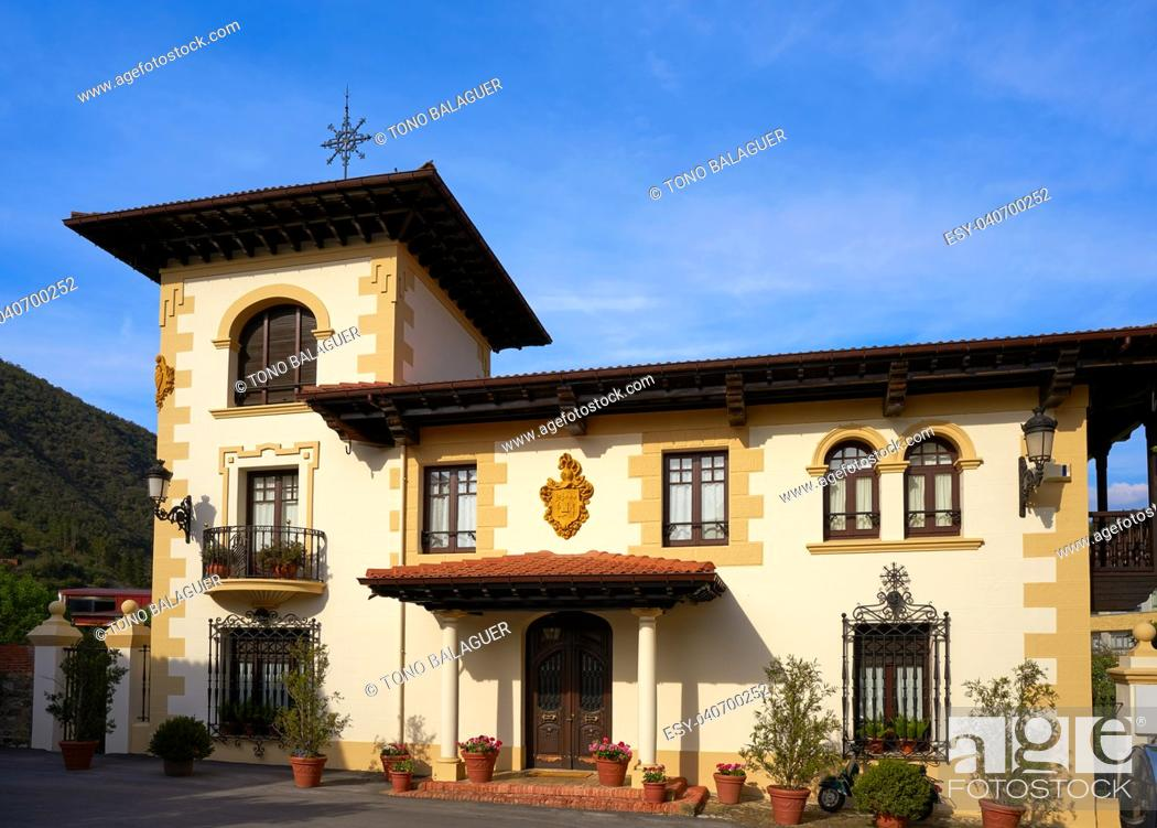 Stock Photo: Potes village facades in Cantabria of Spain.