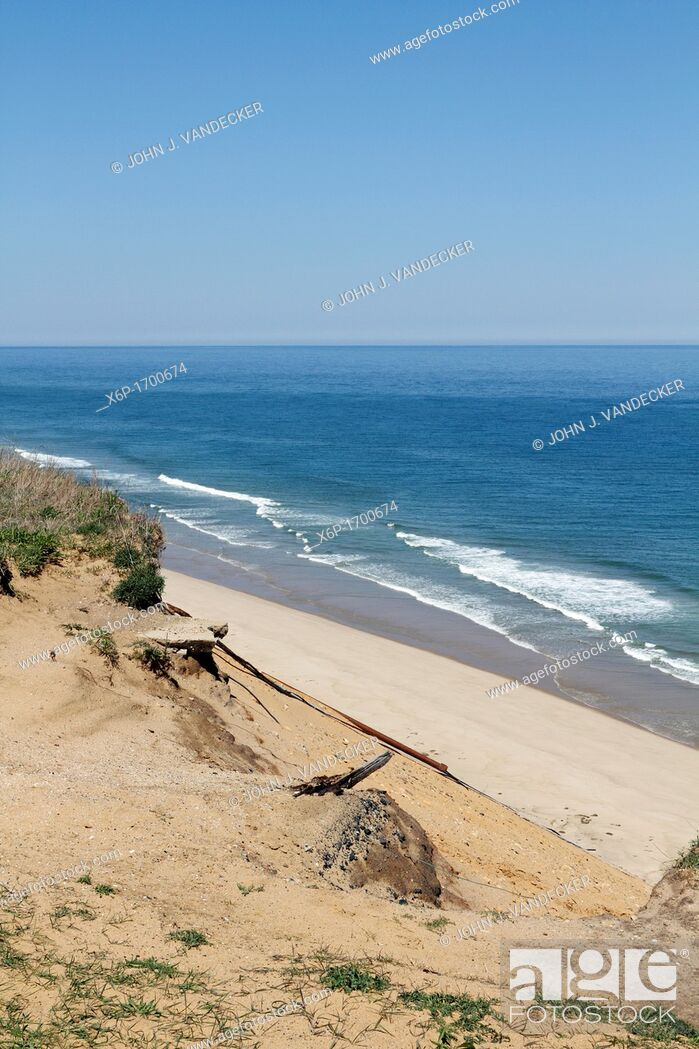 Stock Photo: View of the Atlantic Ocean from the cliff near the Cape Cod Lighthouse  Cape Cod, Massachusetts, USA.