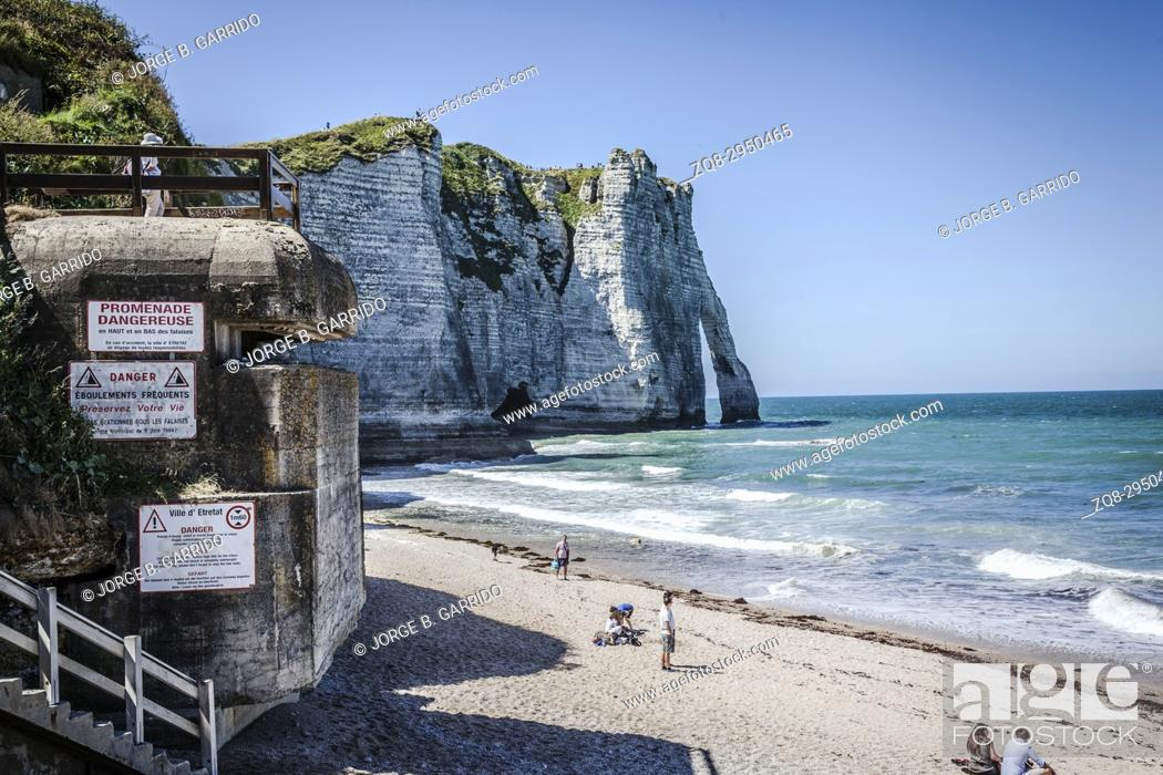 Stock Photo: White cliffs of Etretat, France.