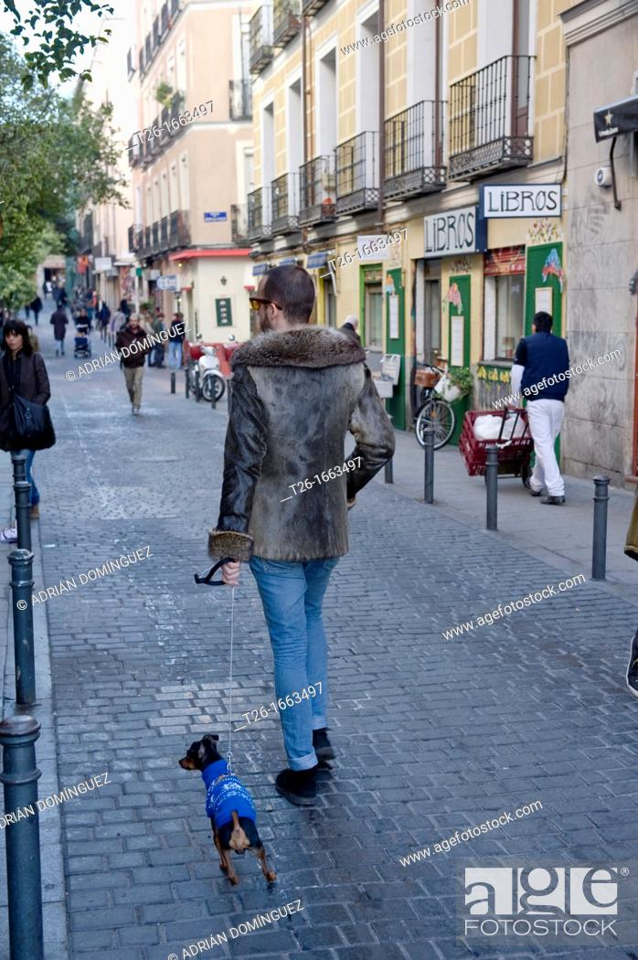 Stock Photo: Fashion man walk with a dog in Madrid, Spain.