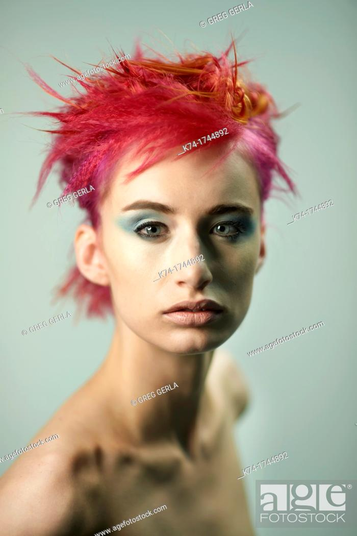 Stock Photo: woman with red hair.