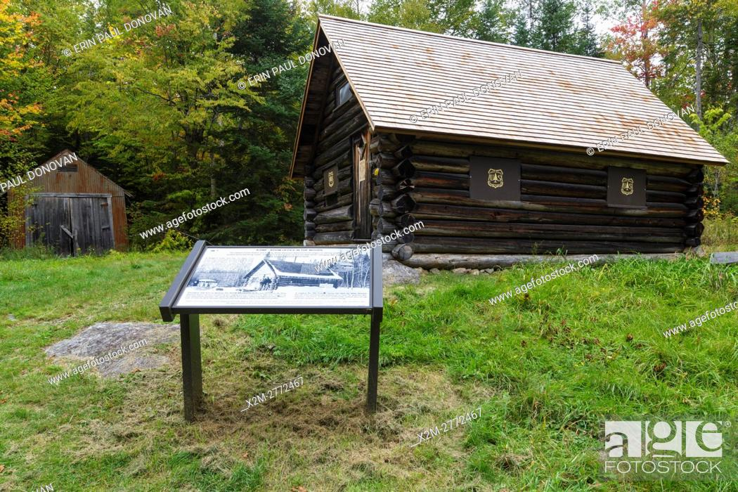 Stock Photo: The Fabyan Guard Station during the autumn months. It was built in 1923 by Clifford Graham along the old Jefferson Turnpike (now Old Cherry Mountain Road) in.
