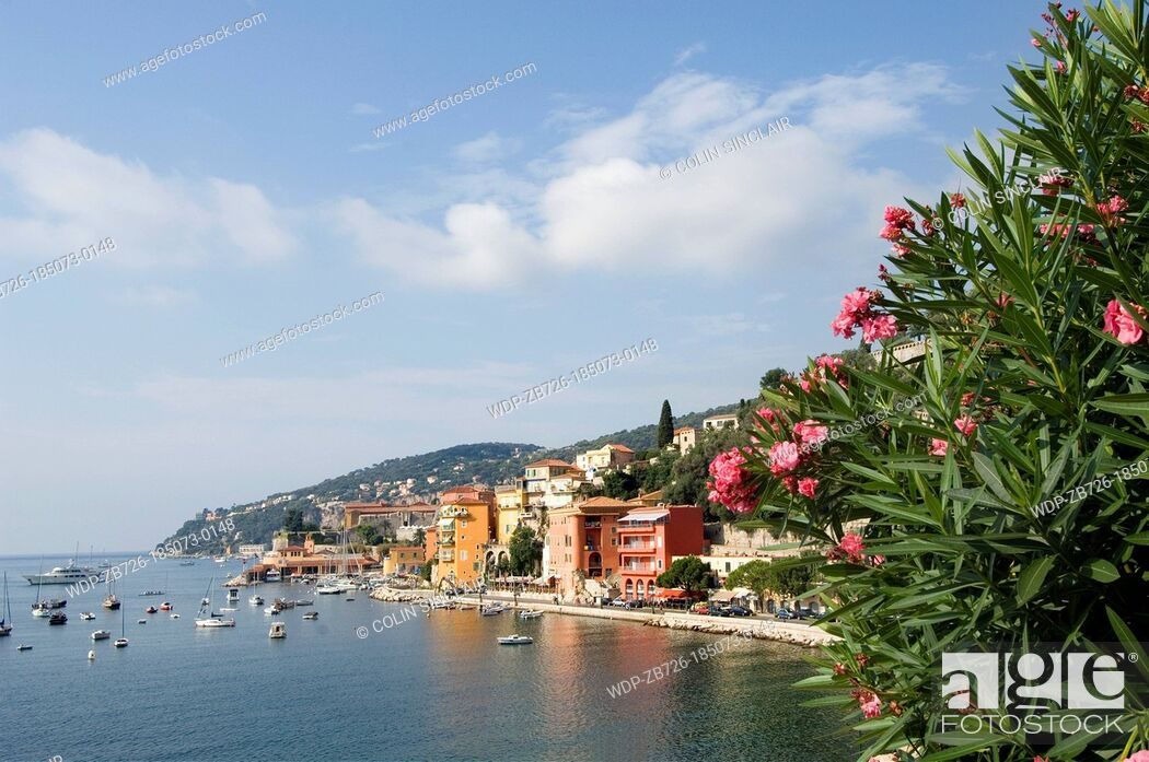 Imagen: Villefranche sur Mer, bay with boats, flowers in foreground.
