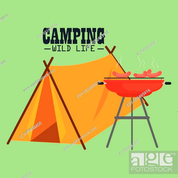 Stock Vector: camping wild life with tent vector illustration design.