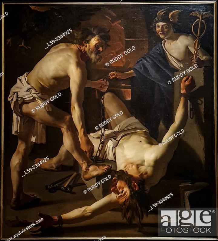 Stock Photo: 'Prometheus Being Chained by Vulcan', 1923, Dirck van Baburen (1592-1624).