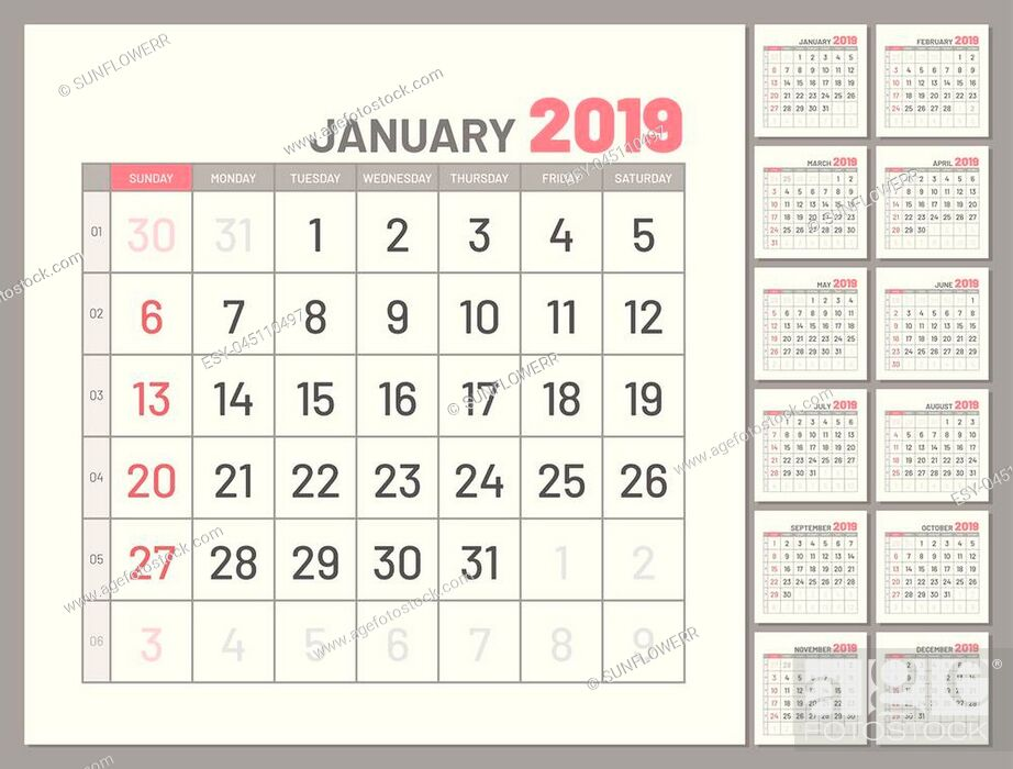 Stock Vector: Set planners, January 2019, twelve months, flat. Collection of calendars for whole year for planning, taking notes and so on.