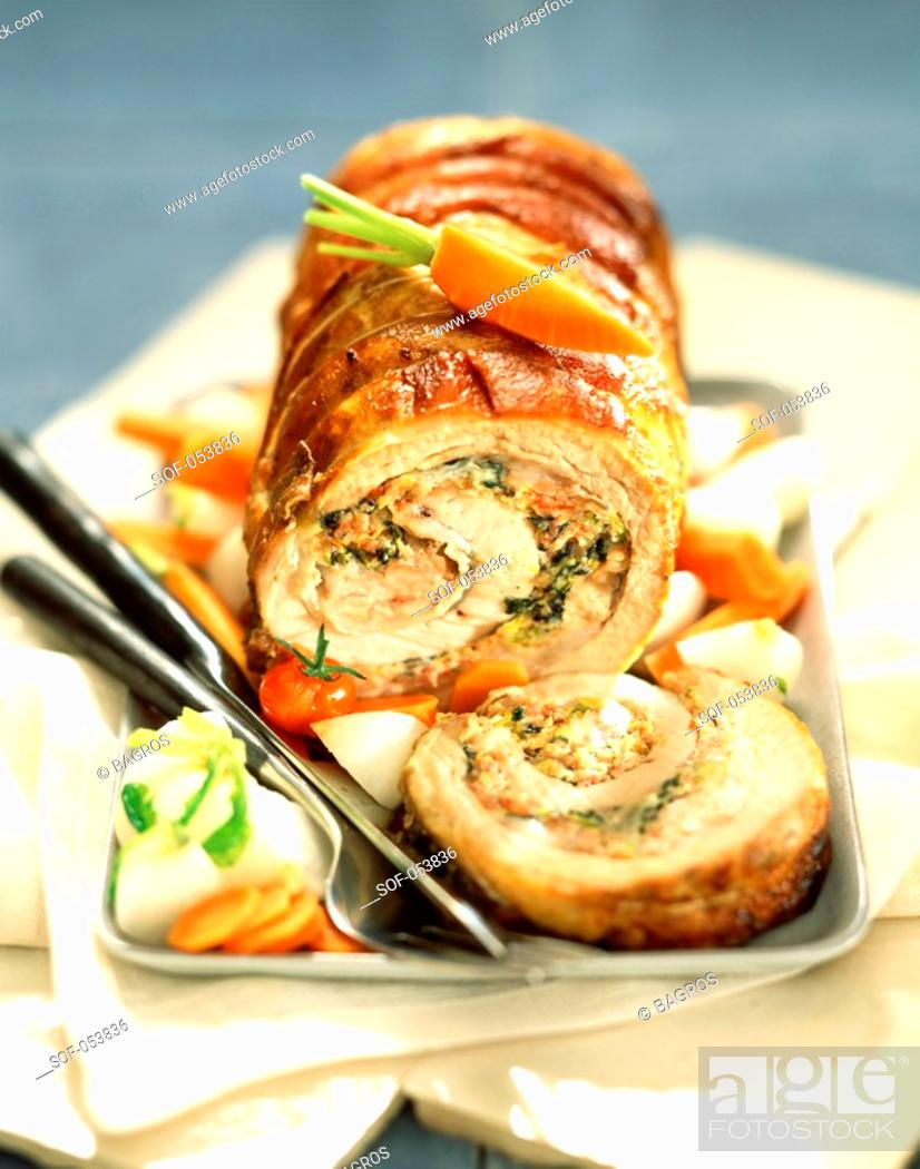 Stock Photo: belly of veal stuffed with Corsican ham.