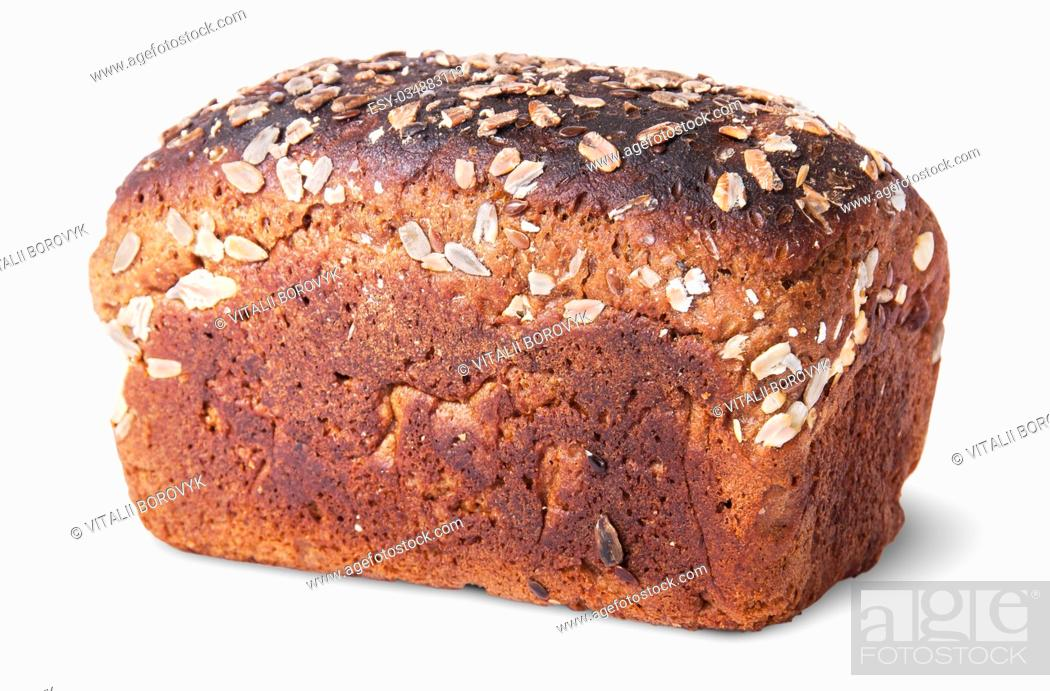 Stock Photo: Unleavened black bread with seeds rotated top view isolated on white background.