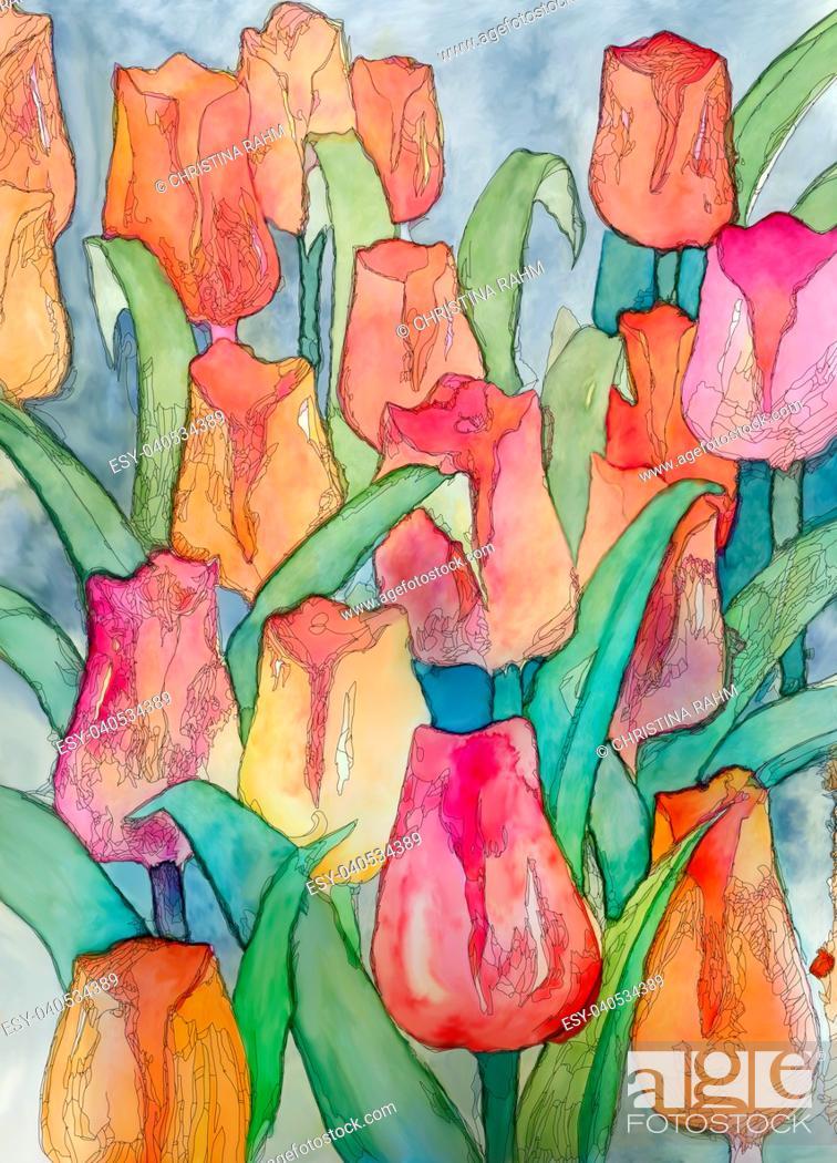 Stock Photo: Tulips artwork with black contour art nouveau style digital illustration closeup.