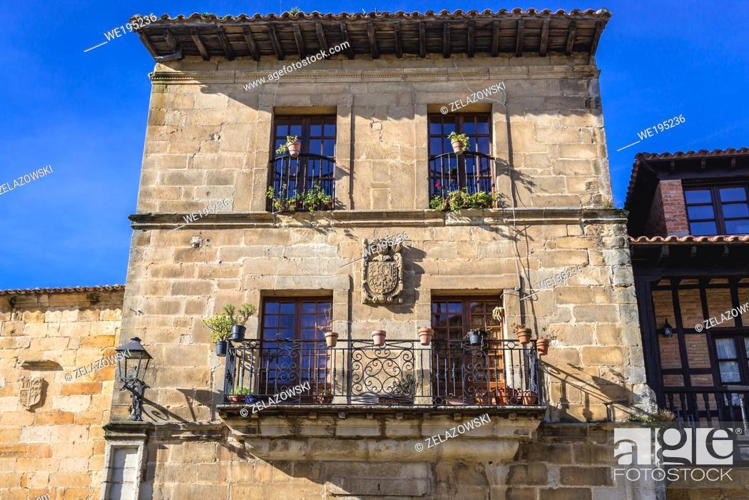 Stock Photo: Santillana Suites hotel in Santillana del Mar historic town located in Cantabria autonomous community in northern Spain.