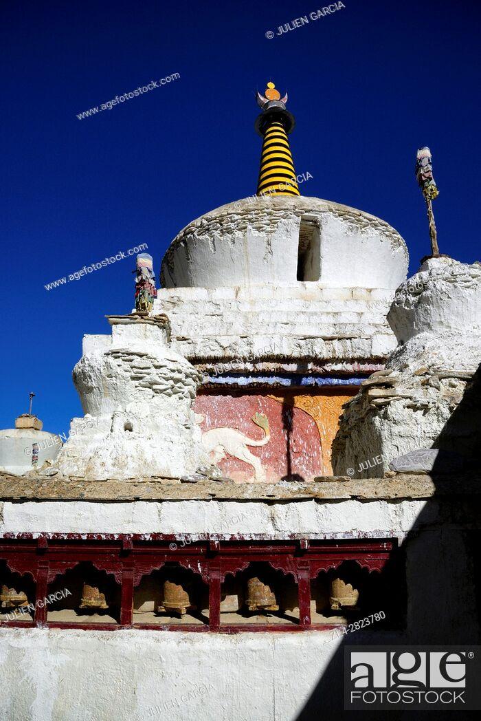 Stock Photo: India, Jammu and Kashmir State, Himalaya, Ladakh, Indus valley, stupa (chorten) in the Buddhist monastery of Lamayuru (Yungdrung).
