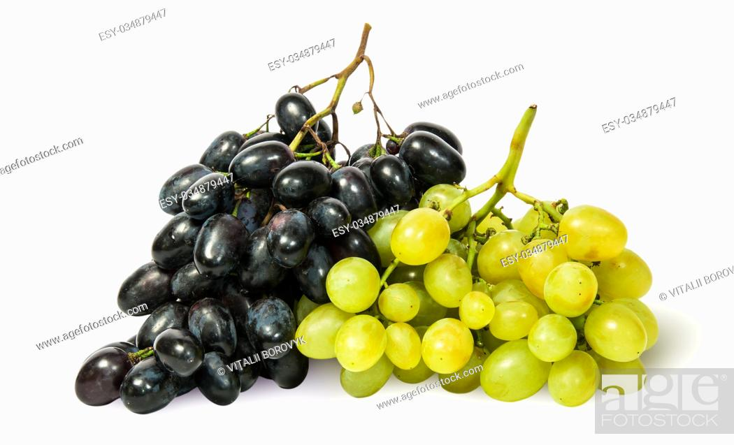 Stock Photo: Two bunches of grapes isolated on white background.