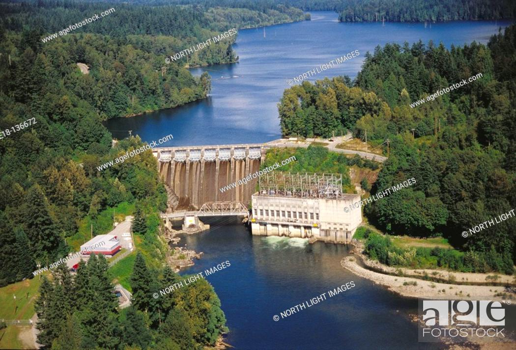 Stock Photo: Ruskin dam and powerhouse, Stave River. Mission, British Columbia, Canada.