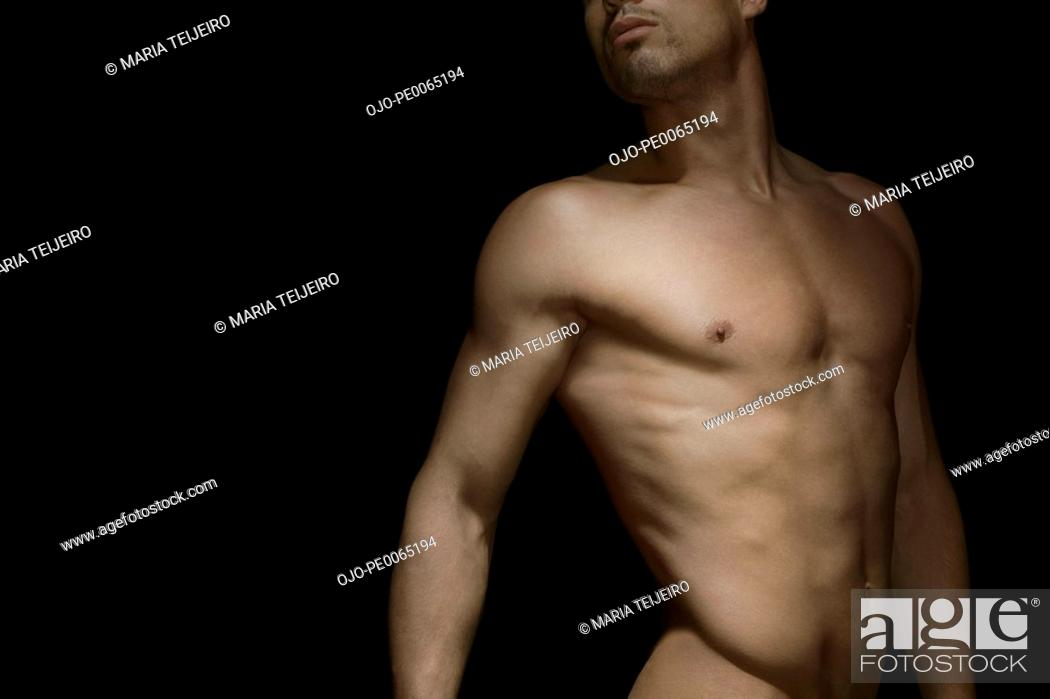Stock Photo: Midsection of nude man.
