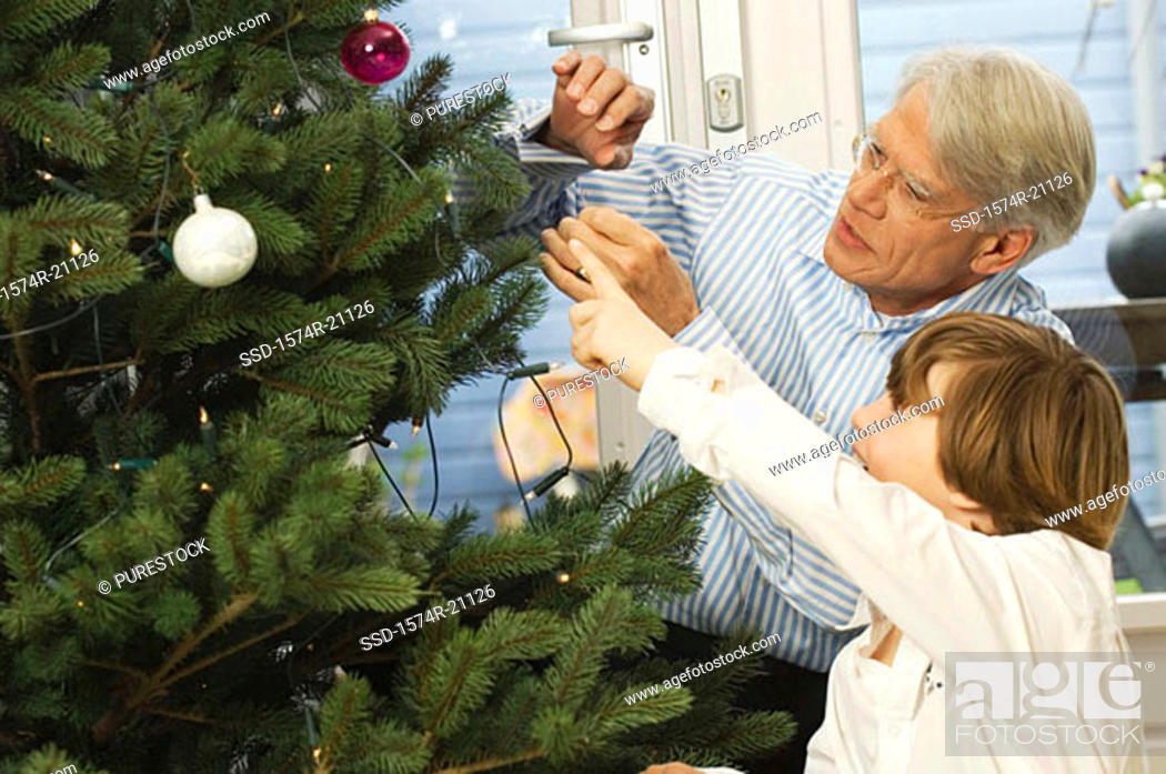 Stock Photo: Close-up of a grandfather and his grandson looking at Christmas tree.