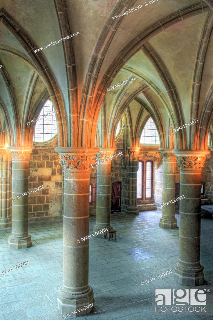 Stock Photo: Abbey, Mont Saint-Michel, Manche department, Lower Normandy, France.