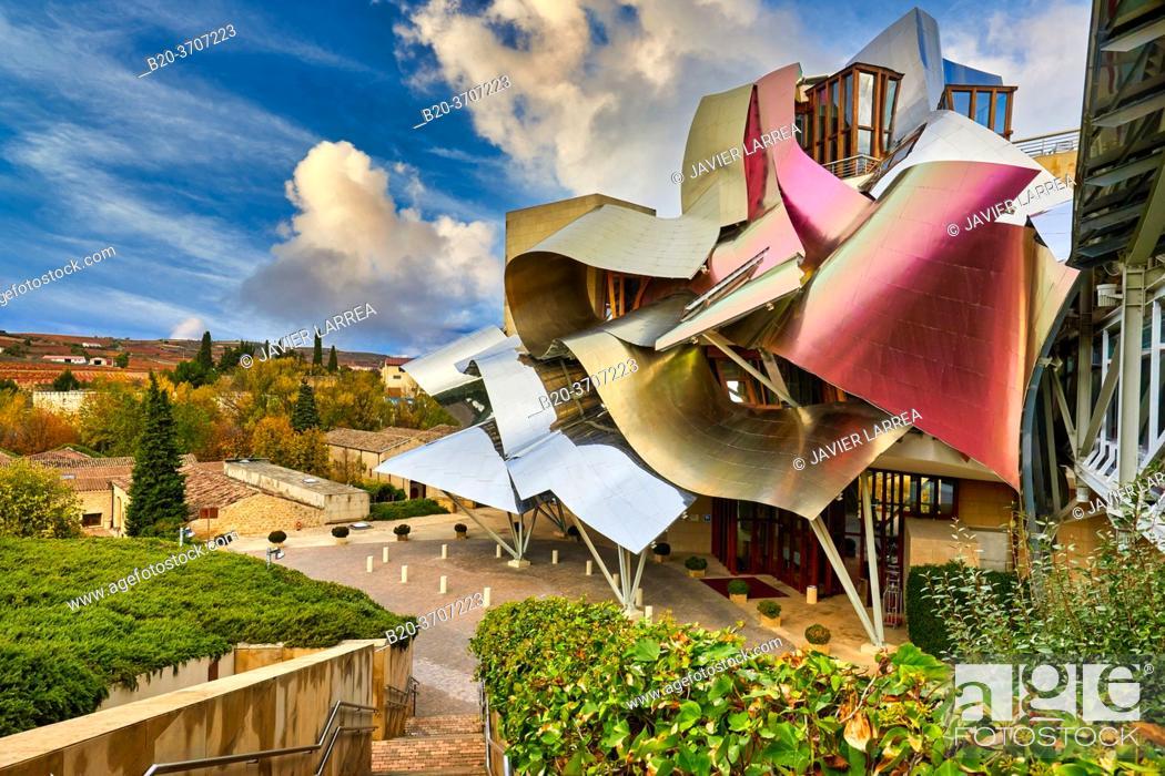 Photo de stock: The City of Wine, Marques de Riscal winery, building by Frank O. Gehry, Elciego, Alava, Rioja Alavesa, Basque Country, Spain, Europe.