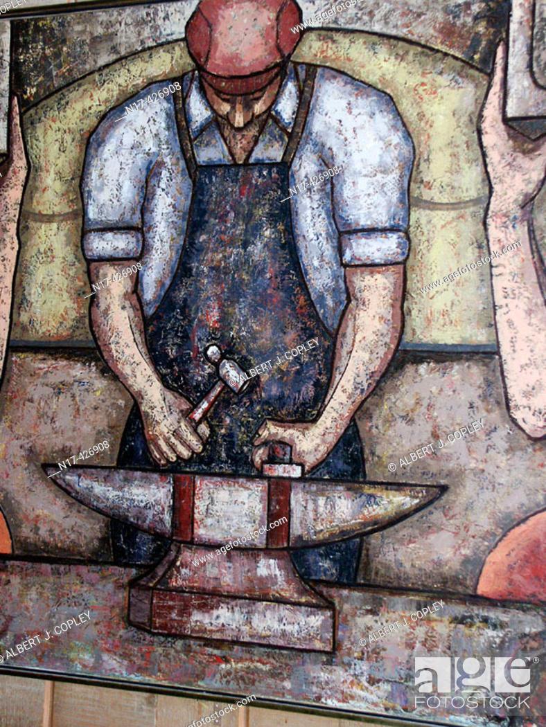 Stock Photo: Iron worker painting, folk art.