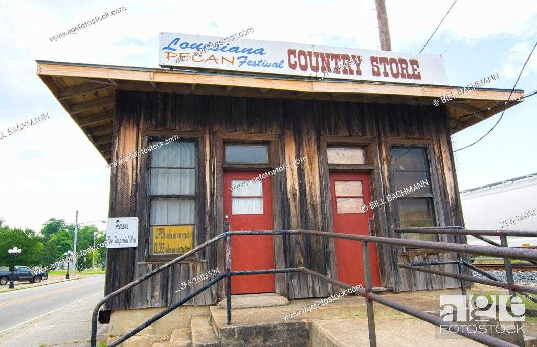 Stock Photo: Colfax Louisana small town famous for Louisana Pecan Festival railroad Festival Country Store.