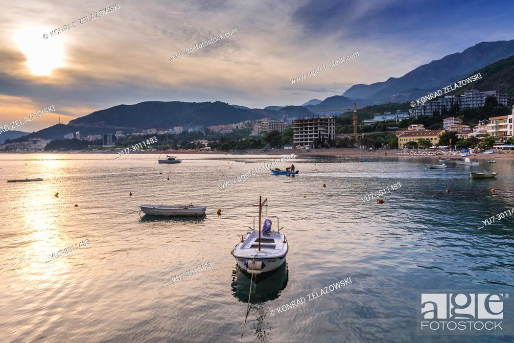 Stock Photo: View from Rafailovici resort town, part of so called Budva Riviera on the coast of Adriatic Sea in Montenegro.