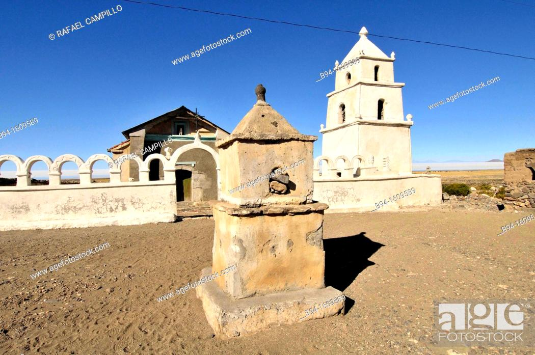 Stock Photo: Church in the Salt hotel area. Salar de Uyuni, the world's largest salt flat at 10,582 square kilometers. Located in the Potosí and Oruro departments in.