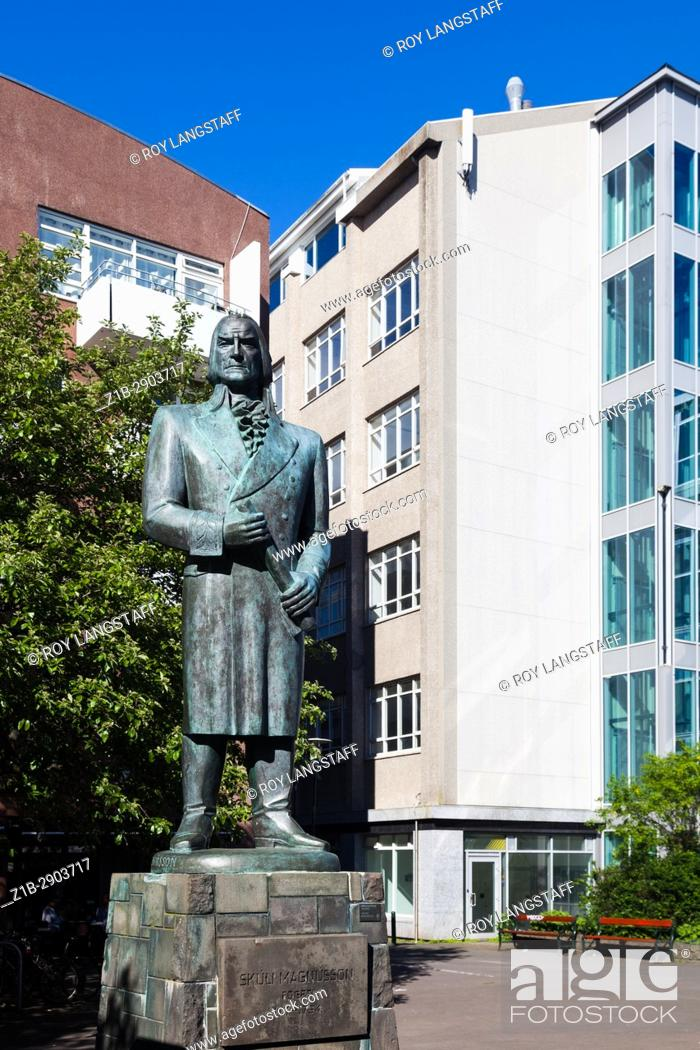 Stock Photo: Bronze statue of Skuli Magnusson in a small plaza in Reykjavik.