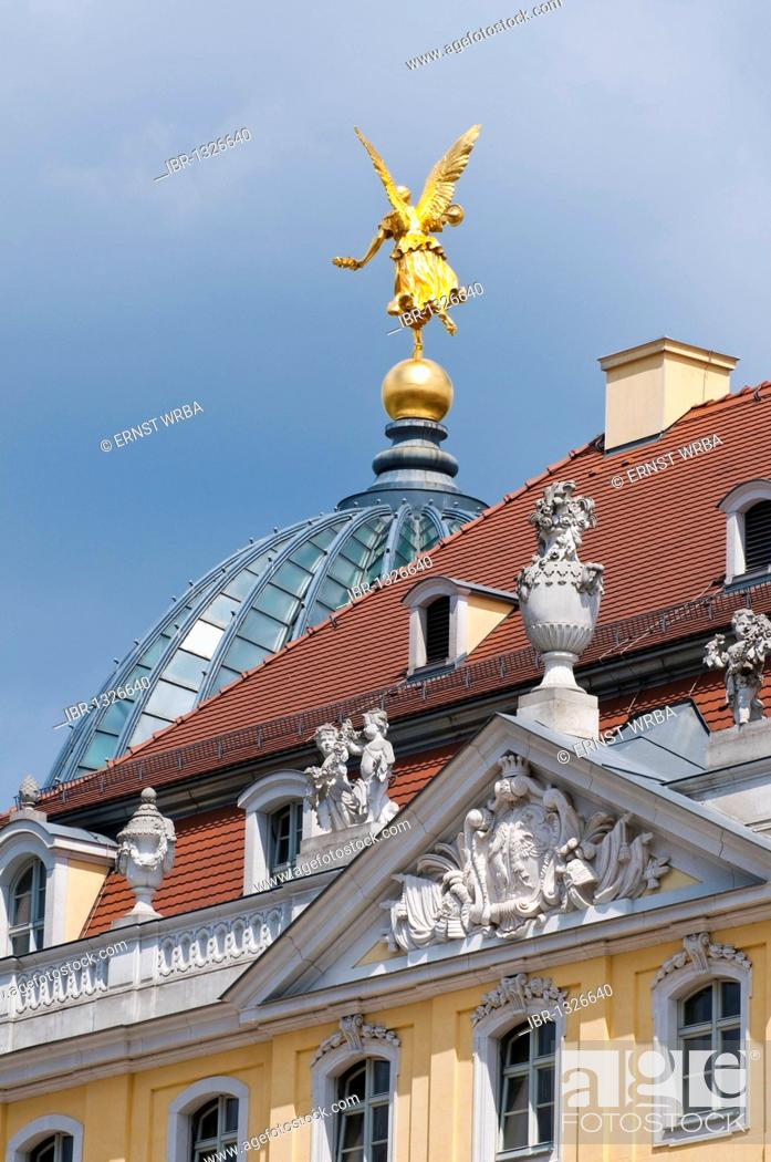 Stock Photo: Cosel Palace, golden angel on the dome of Dresden Academy of Fine Arts, historic town centre, Dresden, Saxony, Germany, Europe.