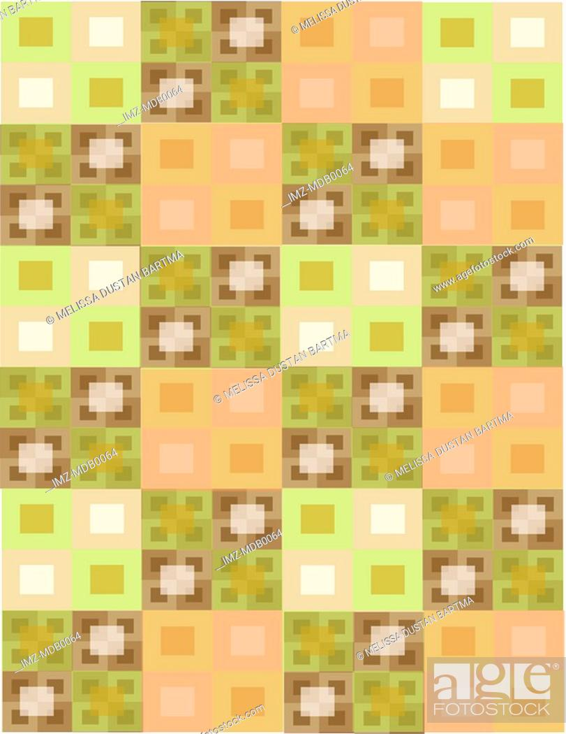 Stock Photo: Green and brown geometrical rectangle patterns.