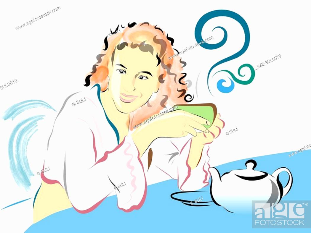 Stock Photo: Illustration of a woman relaxing with a cup of tea.