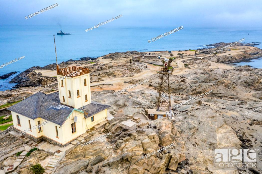 Stock Photo: Lighthouse on the Coast of Shark Island, Luderitz , Namibia , .