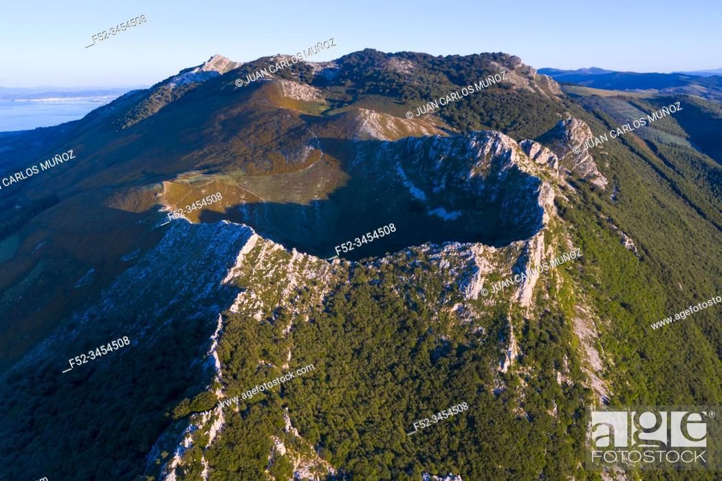 Stock Photo: Pico Islares, Mount Islares, Aerial View, Islares, Castro Municipality, The Way of Saint James, Cantabrian Sea, Cantabria, Spain, Europe.